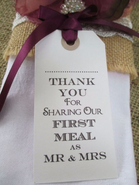 10 Thank You for Sharing Our First Meal as Mr & Mrs Name Place Cards Napkin Ties